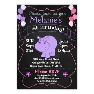 Invitations de fête d'anniversaire d'hippopotame