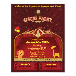 Invitations de fête d'anniversaire du cirque de carton d'invitation 10,79 cm x 13,97 cm