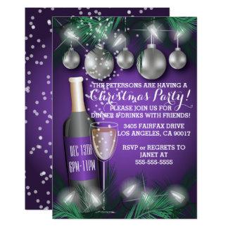 Invitations de fête de dîner de vacances de Noël