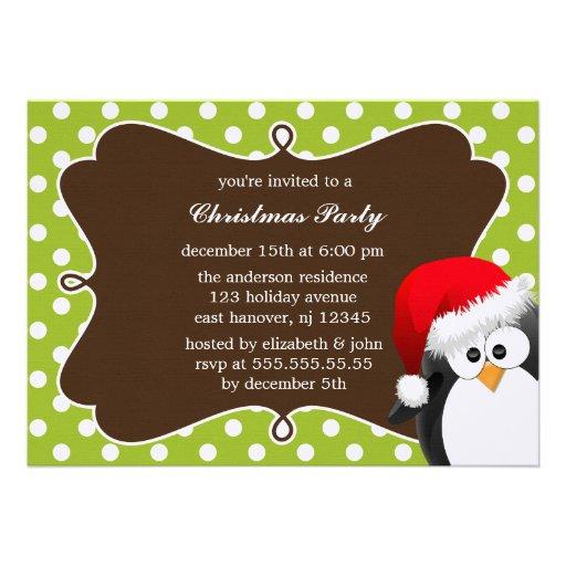 Invitations de fête de Noël de pingouin de vacance