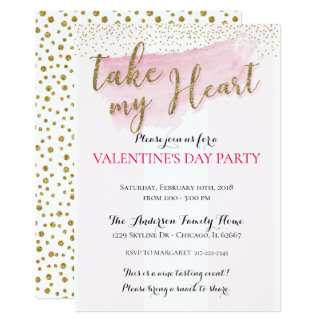 Invitations de la partie de Valentine d'aquarelle
