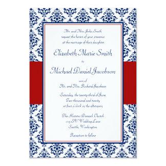 Invitations de mariage damassé de bleu marine et