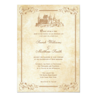 Invitations de mariage de château de conte de fées