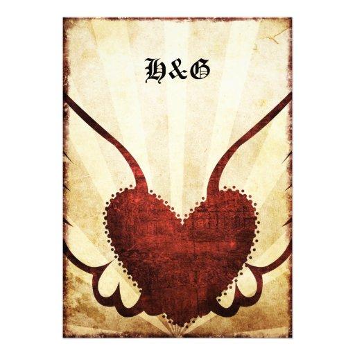 Invitations de mariage de coeur à ailes par tatoua