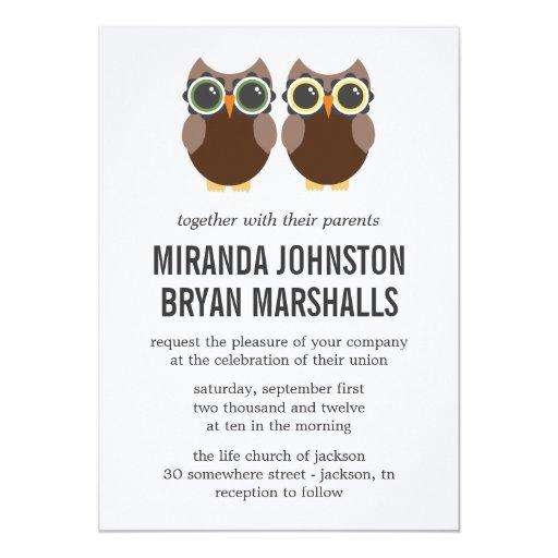 Invitations de mariage de conception de hiboux de carton d'invitation  12,7 cm x 17,78 cm