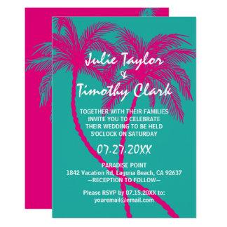 Invitations de mariage de palmier de roses indien