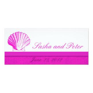 Invitations de mariage de plage de Fuscia Shell Carton D'invitation 10,16 Cm X 23,49 Cm
