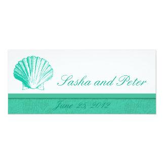 Invitations de mariage de plage de Shell d'Aqua Carton D'invitation 10,16 Cm X 23,49 Cm