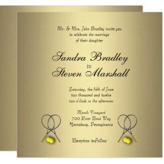 Invitations de mariage de tennis d'or
