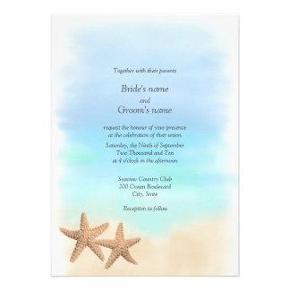Invitations de mariage de thème de plage d étoiles