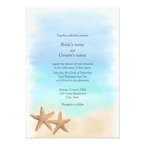 Invitations de mariage de thème de plage d'étoiles