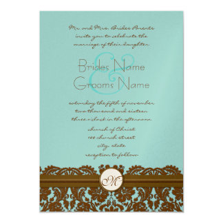 Invitations de monogramme de Brown mariage damassé