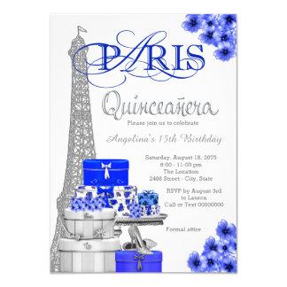 Invitations de Paris Quinceanera de bleu royal