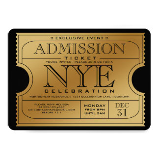 Invitations de partie de billet d'or de NYE