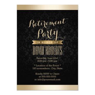 Invitations de partie de retraite de damassé de