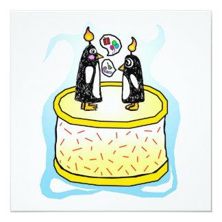 Invitations de pingouin de gâteau d'anniversaire