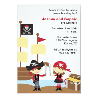 Invitations de pirate de garçon et de fille