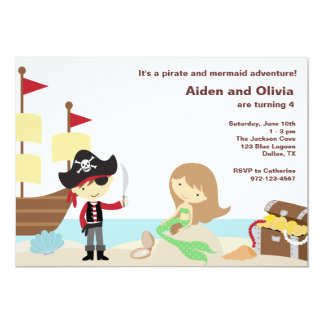 Invitations de pirate et de sirène