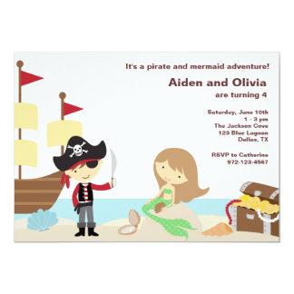 Invitations de pirate et de sirène