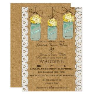 Invitations de pots de maçon d'hortensias de jaune