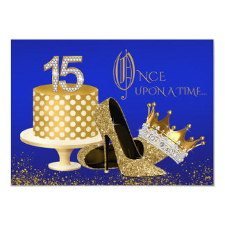 Invitations de Quinceanera de bleu royal et d'or