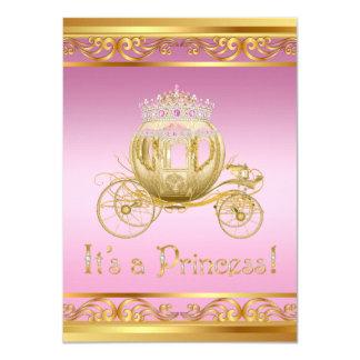 Invitations de rose et de princesse baby shower