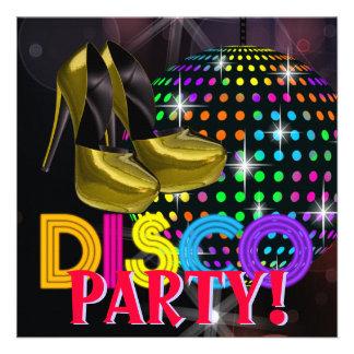 Invitations de soirée dansante de disco de boule d