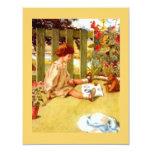 Invitations de thé de jardin de fille et d'ours de
