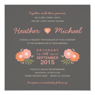 Invitations décontractées florales rustiques de