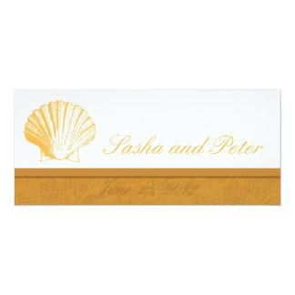 Invitations d'or de mariage de plage de Shell de