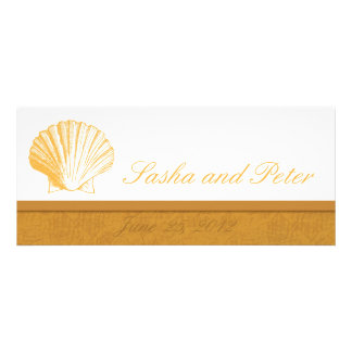 Invitations d'or de mariage de plage de Shell de m