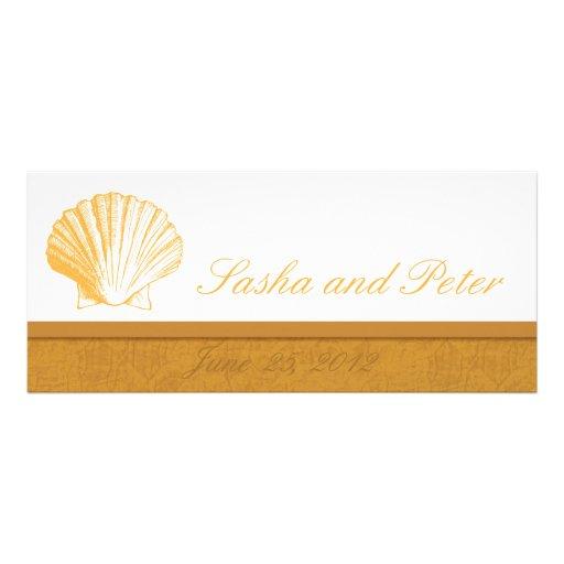 Invitations d'or de mariage de plage de Shell de m