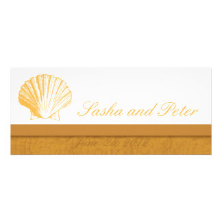 Invitations d'or de mariage de plage de Shell de s