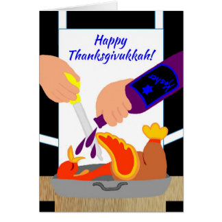 Invitations drôles heureuses de Thanksgivukkah