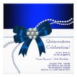 Invitations élégantes de Quinceanera de bleu royal