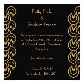 Invitations élégants de toile d'art déco de noir carton d'invitation  13,33 cm