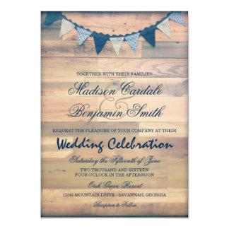 Invitations en bois rustiques de mariage de