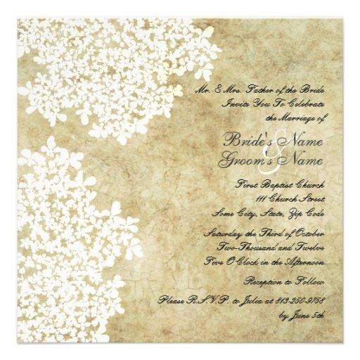 Invitations florales blanches de mariage de carré