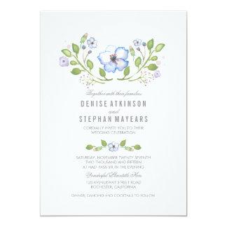 Invitations florales bleues de mariage d'aquarelle carton d'invitation  12,7 cm x 17,78 cm