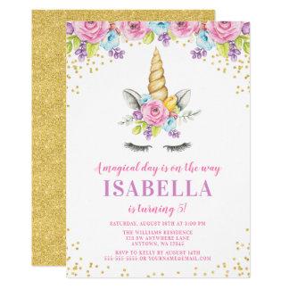 Invitations florales d'anniversaire de licorne