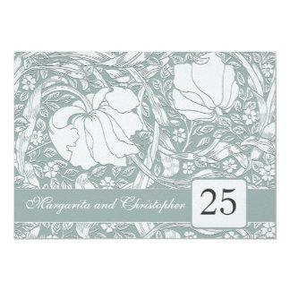 invitations florales de 25ème anniversaire argenté