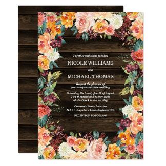 Invitations florales de mariage de automne