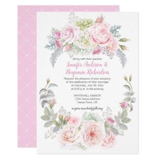 Invitations florales de mariage d'hortensias de