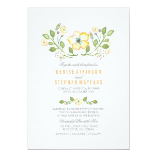 Invitations florales jaunes de mariage d'aquarelle carton d'invitation  12,7 cm x 17,78 cm