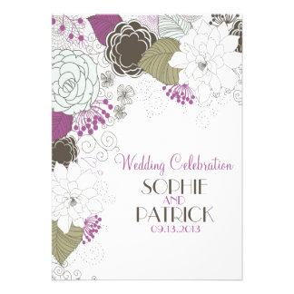 Invitations florales lunatiques pourpres de mariag