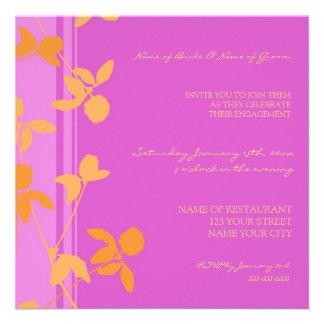 Invitations florales oranges roses de partie de fi