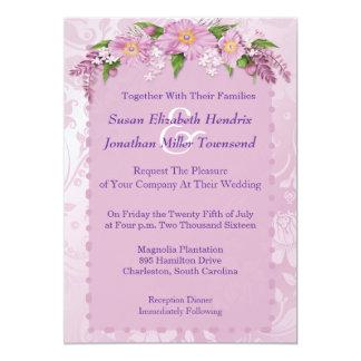 Invitations florales pourpres de mariage