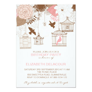 Invitations florales roses vintages d'anniversaire carton d'invitation  12,7 cm x 17,78 cm