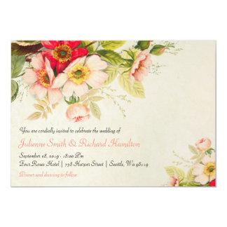Invitations florales vintages de mariage du