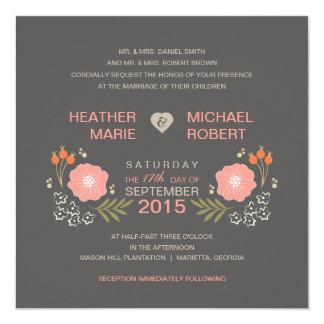 Invitations formelles florales rustiques de